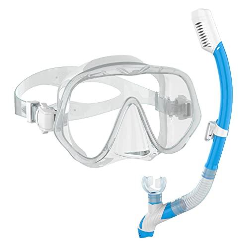 Ranipobo Schnorchelset Erwachsene, Schnorcheln Set mit Taucherbrille und Dry Schnorchel für Erwachsene - wasserdichte Tauchmaske, Anti-Leck Anti-Fog, Tauchmaskeaus Gehärtetem Glas