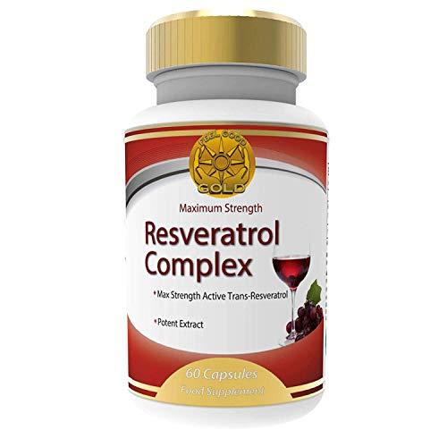 Trans Resveratrol Maximale Stärke Antioxidansergänzung. Vorteile Wie Traubenkernöl, Heidelbeeren Und Rotwein Polyphenole Auszug, Anti-alterung, Feel Good Gold, 60 Kapseln 1 Bis 2 Monaten Versorgung