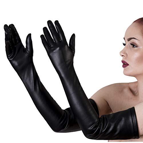 Rubberfashion Lange Leder Handschuhe Damen, Kunstleder Lederoptik Lederhandschuhe lang - Leather Gloves Kunstleder - schwarz XL