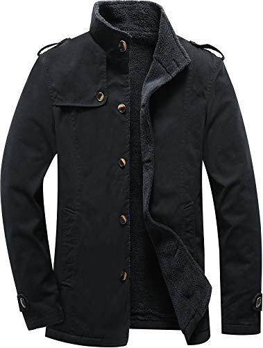 Vcansion Men's Winter Cotton Fleece Lined Jacket Single Breasted Outerwear Windbreakers Coats Black L