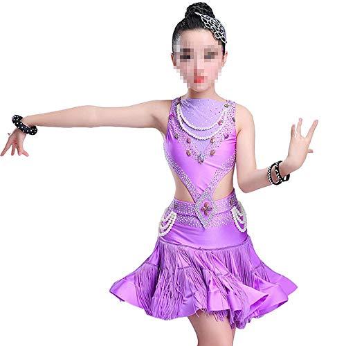 Vestido de baile latino para niñas Ropa de baile latino Falda borla de lentejuelas para niñas Baile latino Vestidos de baile Disfraces para niños para niños niñas ( Color : Purple , Size : 130cm )