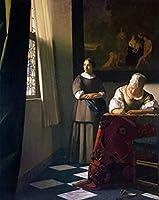 ヨハネスフェルメール《手紙を書く婦人とメイド》キャンバス絵画アート絵画壁の家の装飾-フレームなし50X70 Cm