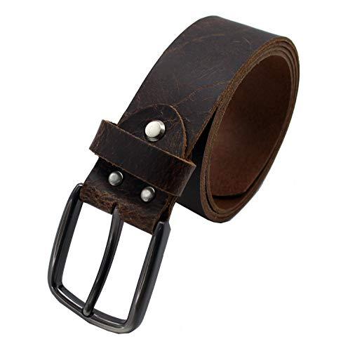 OKTRADI® Herren Ledergürtel Leder für Herren Jeans 40 mm breit, Männer Gürtel Braun Handarbeit (110)