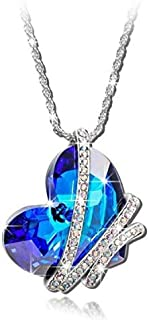 Swarovski Elements Heart of the Ocean Pendant 18K White Gold Plated Necklace,GF-022