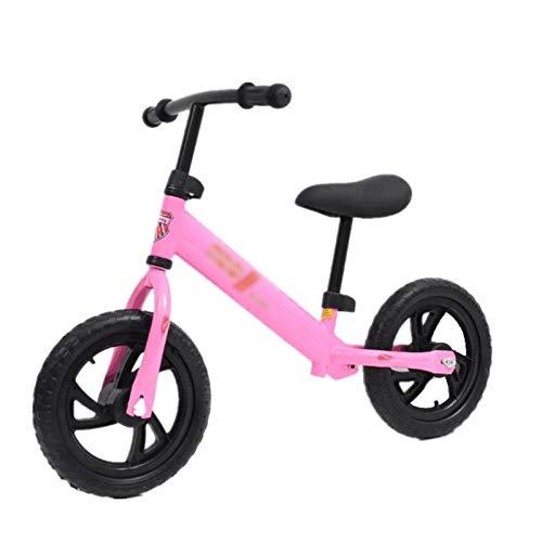 Huachaoxiang Niños Bicicleta De Equilibrio, Equilibrio Bicicletas para Pequeños Y con Color Al Azar Casco Caminar Formación Sin Pedal,Rosado