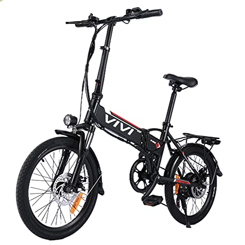 VIVI Electric Bike for Adults,20'' E Bike for Men Women/250W Folding Bike with 36V 8Ah Battery,Professional 7 Speed City Ebike (Black red)