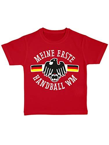 clothinx Kinder T-Shirt Bio Meine Erste Handball WM Rot/Weiß Größe 92