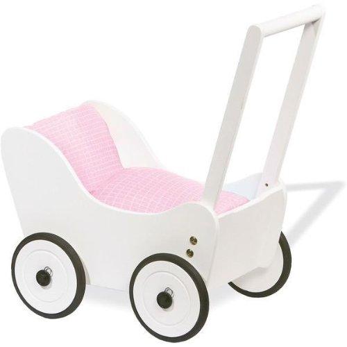 Puppenwagen Maria weiß Lauflernwagen von Pinolino incl. rosa Bettzeug