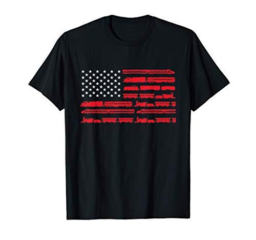 Model Train American Flag Trains - Railroad Scale HO N Gift T-Shirt