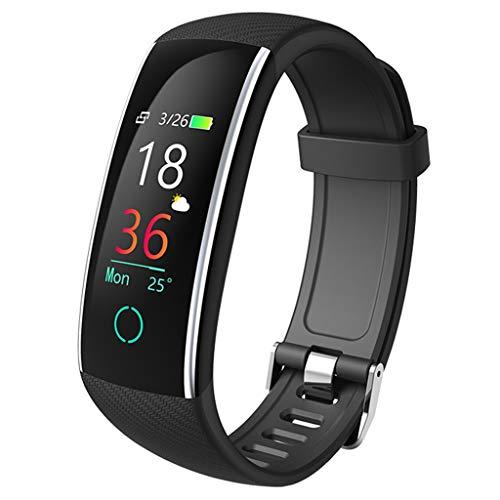 YASF- Monitor de actividad física 2020 versión para hombres y mujeres con presión arterial frecuencia cardíaca Monitor de sueño, impermeable, podómetro, reloj para Android ios (color: negro)