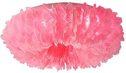 Decoración del hogar Lámpara de techo de plumas rosas E27 Candelabro 6 luces de montaje empotrado Pantalla de lámpara de techo romántica cerca del techo Lámparas para sala de estar Comedor 50cm-Pin
