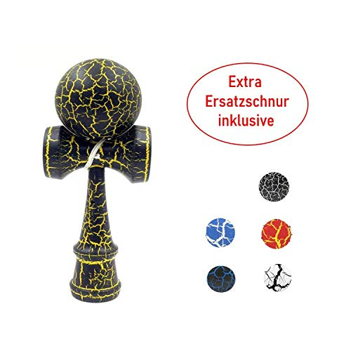 B & Julian Wood Kendama With Replacement String Wooden Ball Catch Game Puzzle Toys Natural Wood and Coloured Tears Tear Flash for Beginners/Children from 9 years (Yellow and Black)