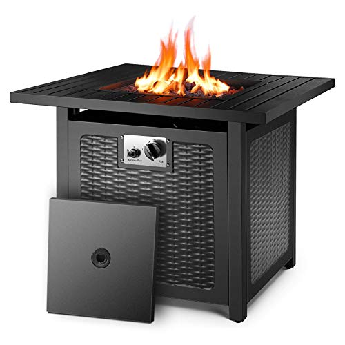 """GARTIO 28.5""""/30'' Propane Gas Fire Pit Table, 50,000 BTU Square Fire Bowl, Outdoor Fireplace with Auto-Ignition, Waterproof Protective Cover, Lava Rock, CSA Certification, for Garden/Patio/Courtyard"""