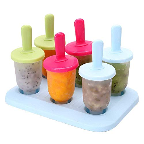 NEW ADAPT 6 Zellen Ice Lolly Moulds Wiederverwendbare DIY Frozen Ice Cream Popsicle Moulds Set Mit Cap Base - Für Dessert Juice Fruit Joghurt Freezer Geleemischung