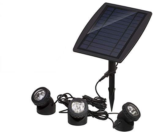 Ausla Solares Unterwasserlicht, 3 Scheinwerfer, 18 LEDs Solar Spotlight Licht Außenbeleuchtung für Garten, Brunnen, Terrasse, Liegewiese(Weiß)