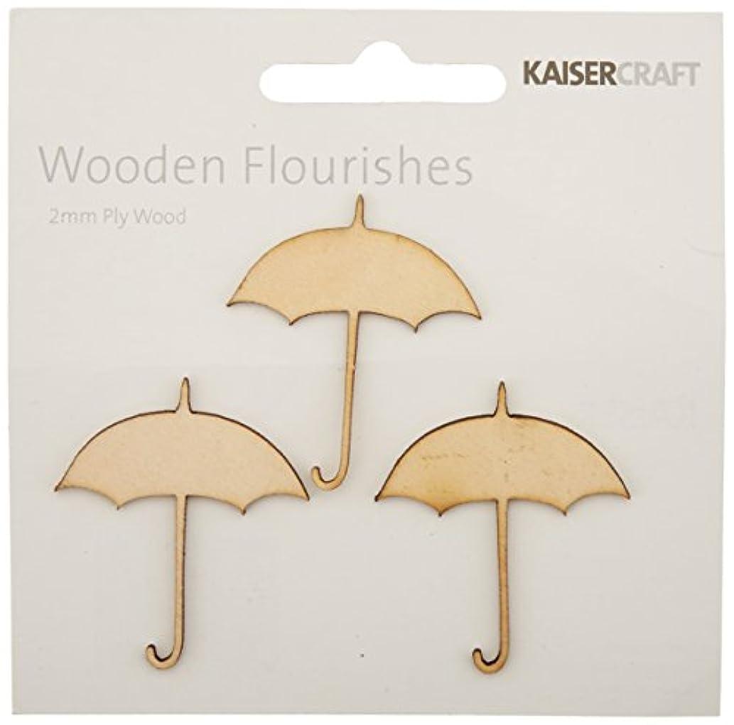 Kaisercraft FL477 Laser Cut Wood Flourish, Umbrellas, 3-Pack
