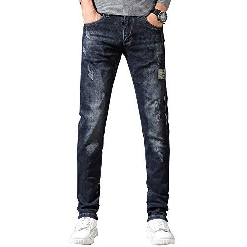 Vaqueros para Jeans Pantalones Jeans Hombres Otoño E Invierno Slim Fit Recto Gris Azul Estiramiento Letras Bordadas High Street Famosa Marca Pantalones para Hombre 30 Azul