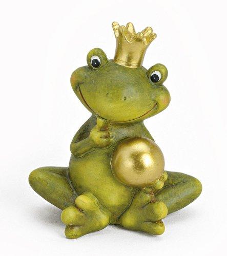 Tempelwelt Dekofigur Gartenfigur Frosch Froschkönig 15 Cm Groÿ Aus Keramik Grün Mit Goldkugel Golden, Witzige Figur Märchenfrosch Als Garten Deko in Stein Optik