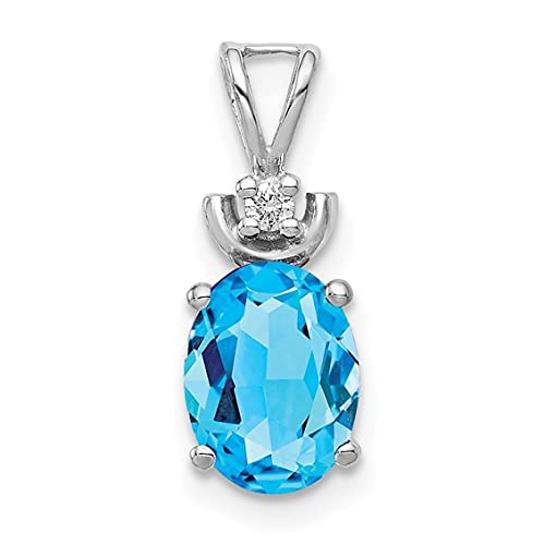 Jewelry-14k White Gold 8x6mm Oval Blue Topaz AAA Diamond Pendant