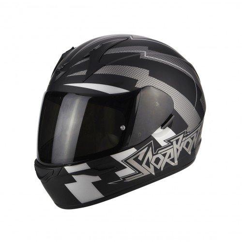 SCORPION Casque moto EXO 390 Patriot Noir mat Argent, Noir/Blanc, XS