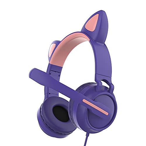 Auricolare con Cavo con Microfono Over-Ear Con Cancellazione Del Rumore Cuffie Cute Cat Ear Luminoso Testa-Montato Cuffie per Le Ragazze Dei Ragazzi Pieghevole Auricolare