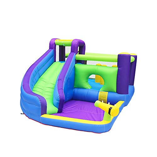 EXCLVEA Inflatable Bouncy Castle Outdoor Play Equipment Jumping Bed Inflatable Castle Water Children's Slide Small Trampoline for Courtyard Playground (Color : Blue, Size : 465x285x205cm)