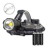 JaxTec - Torcia da testa a LED, 12000 lumen, super luminosa, per campeggio, equitazione, corsa, passeggiate con il cane, pesca, caccia, lettura, riparazione dell'auto