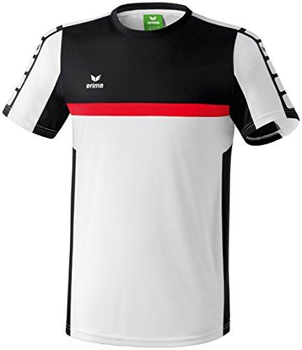 erima Herren T-Shirt 5-Cubes, Weiß/Schwarz/Rot, M, 108515