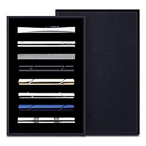 Krawattenklammer, 8 Stück Herren Kupfer Metall Krawattennadel Klassischer Krawattenklammern für Hochzeit Geschäft Bar und Alltag mit Geschenkbox (Gold/Silber/Schwarz/Blau)