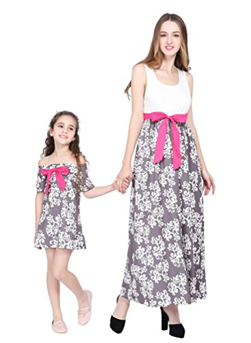 YOUJIA Mère et Bébé Fille Col Rond Bohême Floral Robe Longue Bowknot Famille Vêtements Shirts Robes de Plage Voyage (Gris, 5-6T)