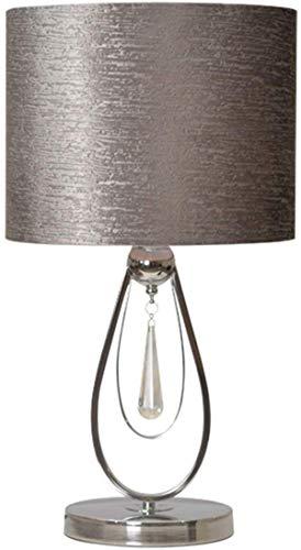 Lamparas de mesita de noche Lámpara de mesa gris, lámpara colgante de cristal de 30 * 56cm, lámpara de mesa redonda en caja de metal, lámpara de mesa pequeña y exquisita, lámpara de cama de dormitorio