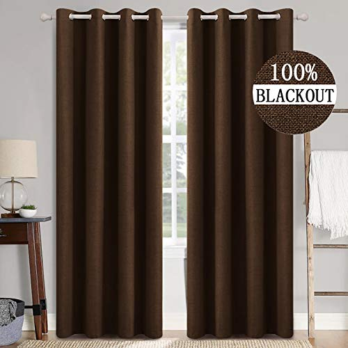 MIULEE - Cortinas opacas de lino y cortinas 100% oscurecidas con aislamiento térmico para ventanas con revestimiento (2 unidades, 42 x 90 cm), color café