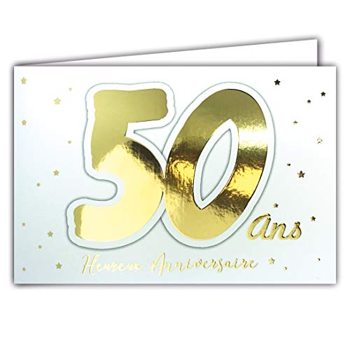 Afie 69-2205 Carte 50 ANS Heureux ANNIVERSAIRE étoiles qui brillent en or doré sur fond blanc ; Livrée avec enveloppe ; Format Carte fermée 17x11,5cm
