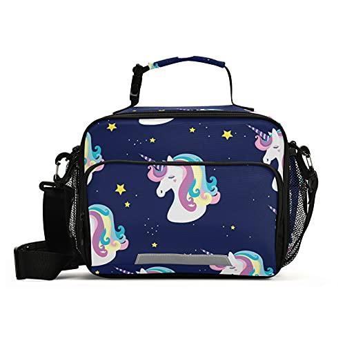 Caja de almuerzo para niños, diseño de unicornio, color azul marino, con aislamiento reutilizable y correa para el hombro, para niñas, niños, mujeres, hombres