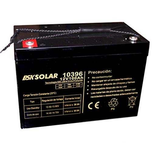 DSK Solar Batería Solar de GEL Ciclo Profundo 12V 100Ah Ideal para Placas Solares