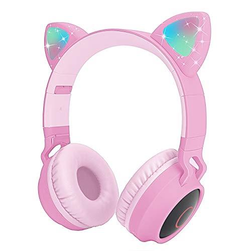 Auriculares Bluetooth para niños Auriculares inalámbricos de Oreja de Gato con luz LED Intermitente (Rosa)