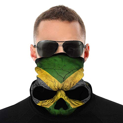 Máscara facial bandana para hombres y mujeres, máscara de media cara con diseño de calavera de Jamaica, protección contra rayos UV, polvo y viento, transpirable, bufanda para el cuello, bufanda blanca