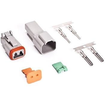 Deutsch 2-Pin Connector Kit with Housing, Pins & Seals Crimp Style Terminals, 14-16 Gauge
