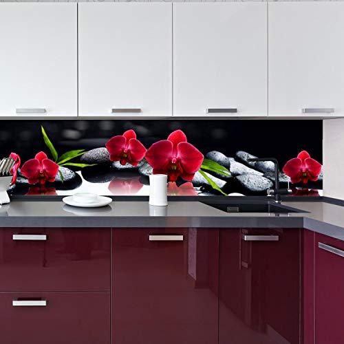 wandmotiv24 Küchenrückwand Orchidee rot Steine schwarz Tropfen Spie 260 x 60cm (B x H) - Acrylglas 4mm Nischenrückwand Spritzschutz Fliesenspiegel-Ersatz M1125