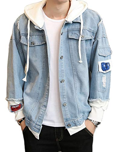Lavnis Men's Denim Hooded Jacket Casual Button Down Ripped Jeans Jacket Coat Outwear Light Blue L
