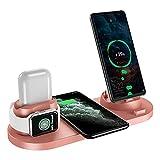 HUSTLE Estación de Carga inalámbrica 6 en 1 Base de Carga rápida de Aluminio para iPhone 12/12 Pro /12 Mini/11 Pro MAX/XS/XR/XS MAX/8 Plus, Soporte de Cargador para iWatch Series 6/5/4/3/2/1,Rosado