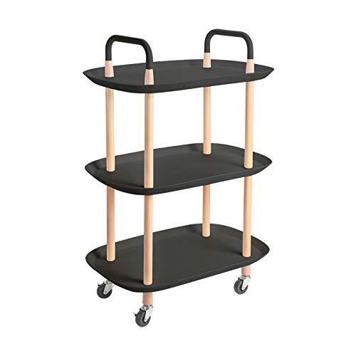 KINLO Servierwagen Küchenwagen mit 4 Rollen mit Bremsen 3 Ebenen Rollwagen Regal für Küche/Büro/Bad/Garten BBQ - schwarz Rollwagen aus Metall - Schiffsaussehen Anders als andere