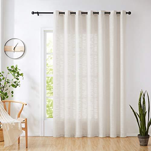 """Natural Sliding Door Curtain 84"""" Sheer Linen Curtains for Living Room Divider 100"""" Width Extra Wide Bedroom Drapes Linen Textured Patio Door Panel Semi Sheer Window Panels Beige Grommet Top 1 Panel"""