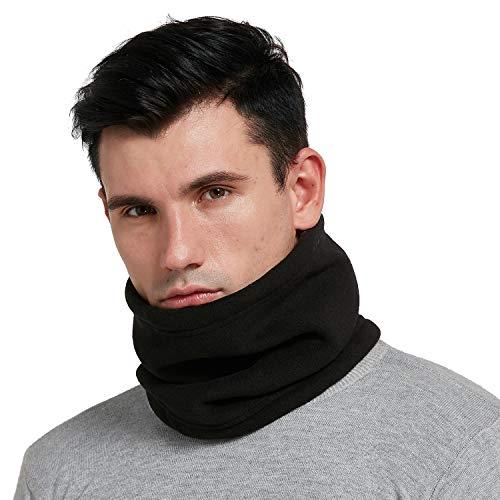 HGDGears Hiver Tour de Cou Polaire Femme Homme Neck Gaiter Neck Warmer Thermique Fleece Masque Tubulaire Écharpe for Ski Moto (Noir)