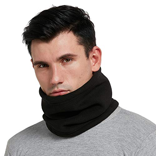 HGDGears Fleece Neck Warmer Thick Windproof Snood for Men Women Multifunctional Neck Gaiter Scarf for Ski Motorbike Cycling (black)