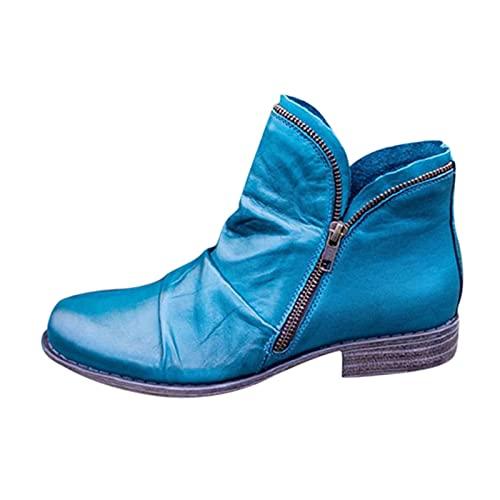 Dasongff Botines de invierno para mujer, botas de combate, botas con cremallera en el tobillo, botas cortas cómodas para equitación, estilo retro, estilo chelsea
