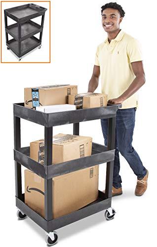 Tubstr Compact 3 Shelf Utility Tub Carts | Original Tubstr Compact | Shelf Utility Cart/Service Cart | Supports up to 400 lbs | Tub Carts w/Deep Shelves (Black