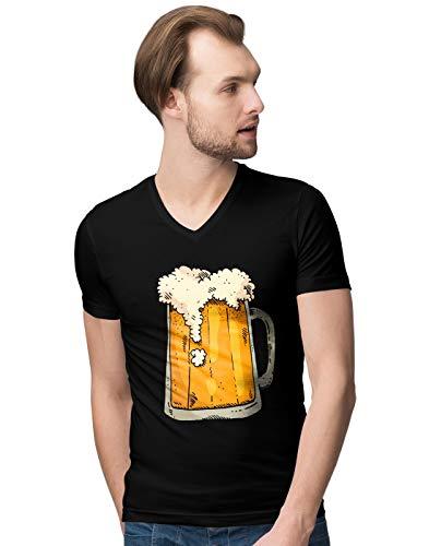 BLAK TEE Hombre Cool Beer Mug Camiseta V-Neck