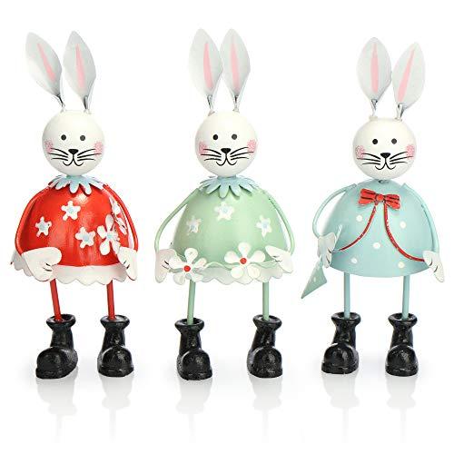 com-four® 3X Dekohase aus Metall - Osterhasen in kräftigen Farben zur Oster-Deko - Dekofiguren zum Hinstellen - Frühlingsdekoration