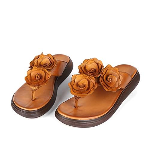 GHYUB Plataforma Sandalias Mujer,Chanclas De Cuero para Mujer, Zapatillas para Mujer, Cuña Flamp-Flops Flor Sandalias De La Playa Zapatillas De Moda Summer Thong (Color : Brown, Size : EUR38)